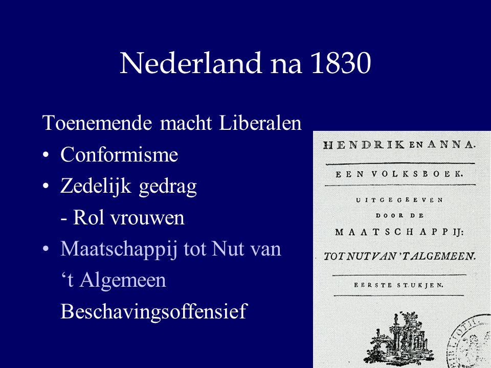 Nederland na 1830 Toenemende macht Liberalen Conformisme