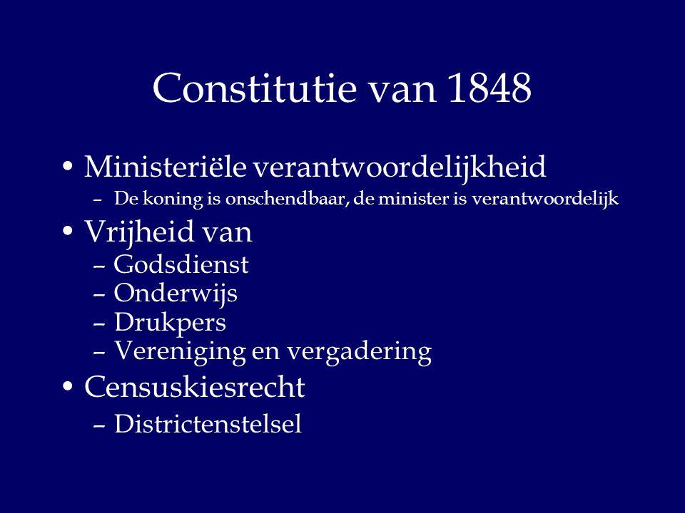 Constitutie van 1848 Ministeriële verantwoordelijkheid Vrijheid van