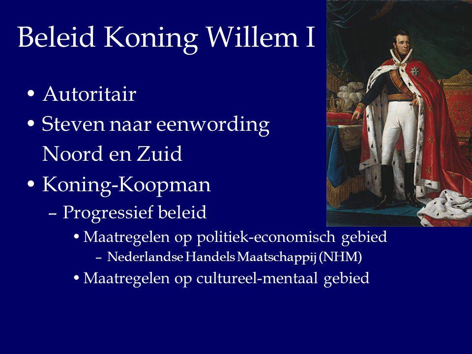 Beleid Koning Willem I Autoritair Steven naar eenwording Noord en Zuid
