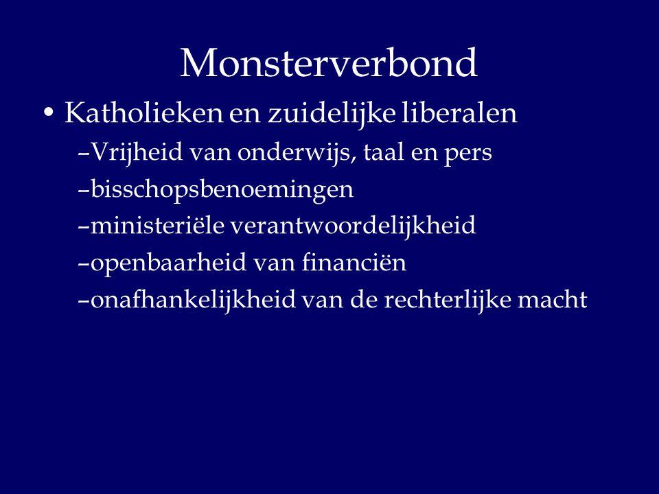 Monsterverbond Katholieken en zuidelijke liberalen