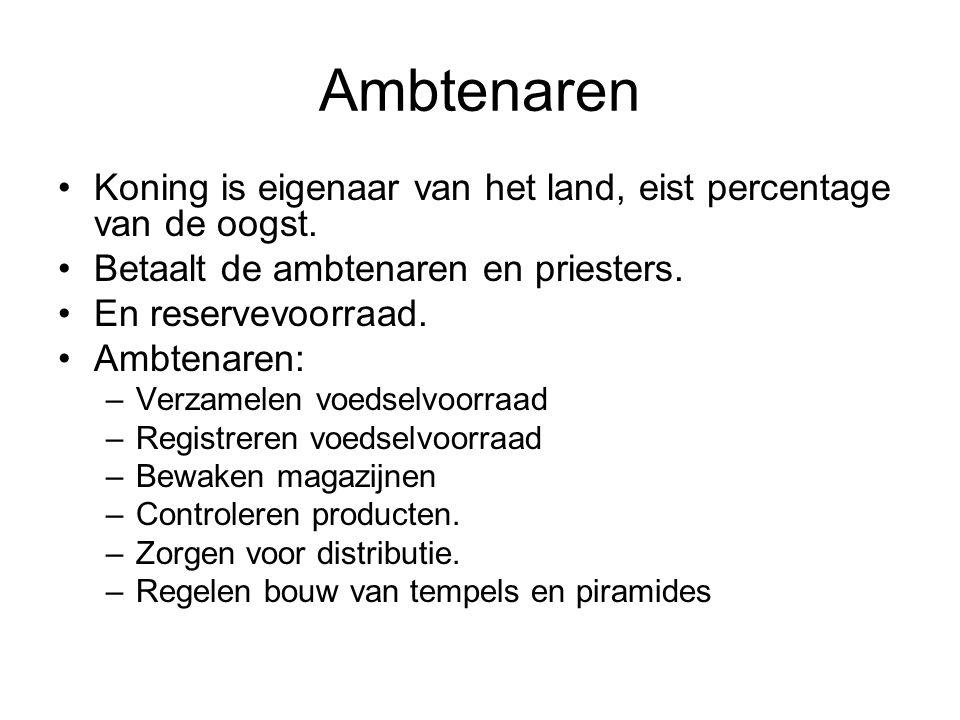 Ambtenaren Koning is eigenaar van het land, eist percentage van de oogst. Betaalt de ambtenaren en priesters.