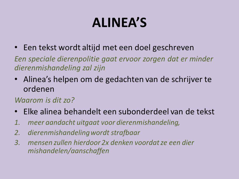 ALINEA'S Een tekst wordt altijd met een doel geschreven
