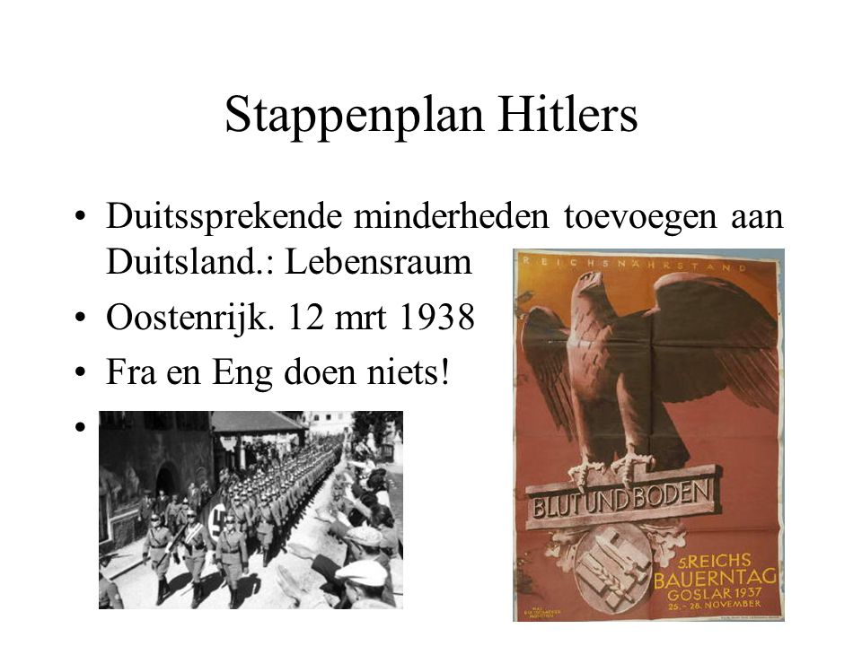 Stappenplan Hitlers Duitssprekende minderheden toevoegen aan Duitsland.: Lebensraum. Oostenrijk. 12 mrt 1938.