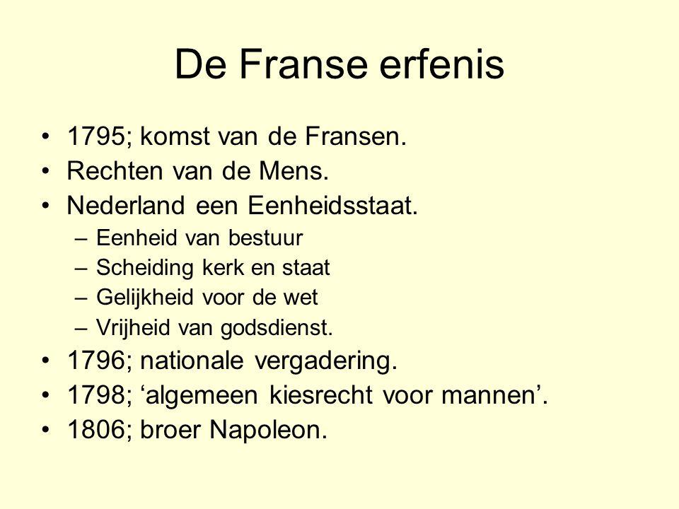 De Franse erfenis 1795; komst van de Fransen. Rechten van de Mens.