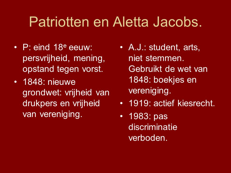 Patriotten en Aletta Jacobs.