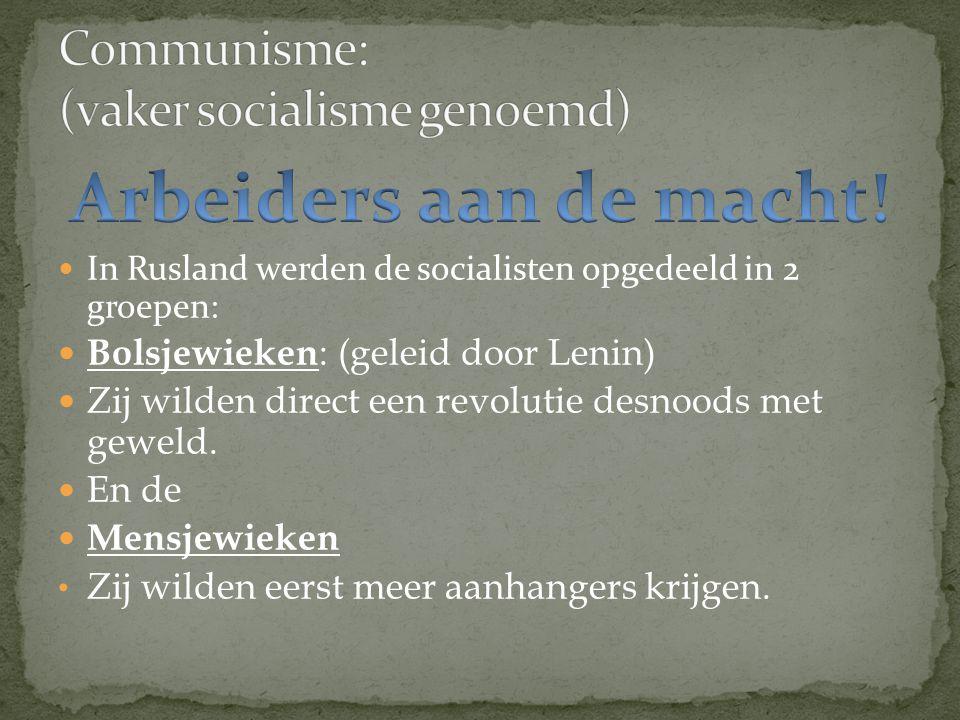 Communisme: (vaker socialisme genoemd)