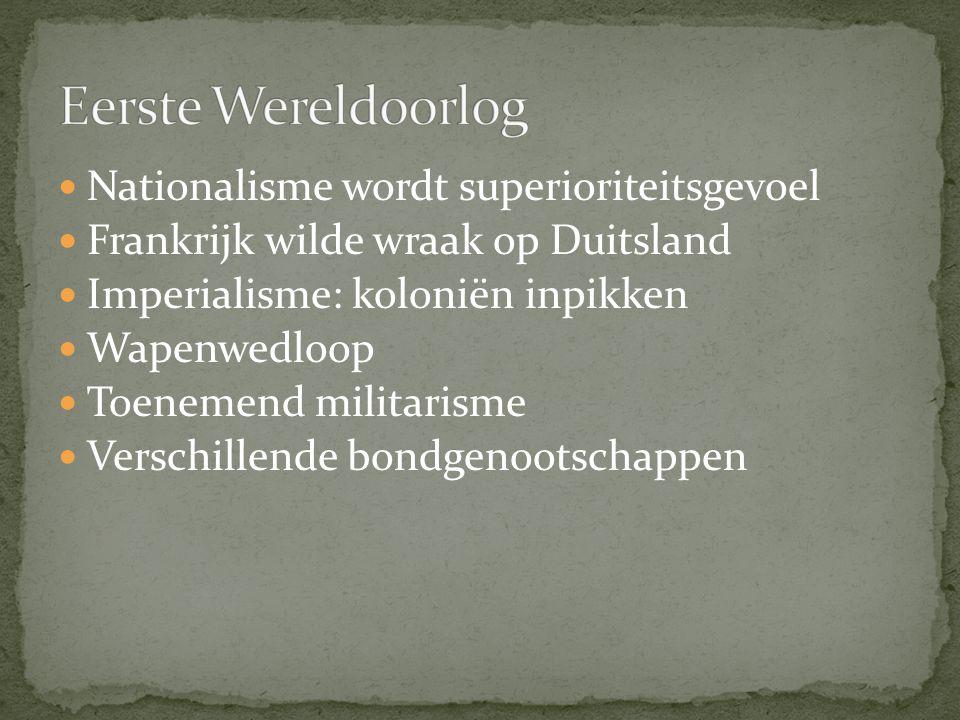 Eerste Wereldoorlog Nationalisme wordt superioriteitsgevoel