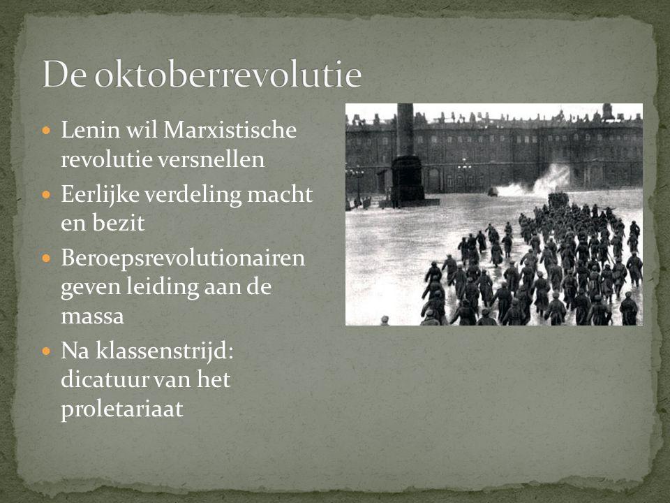 De oktoberrevolutie Lenin wil Marxistische revolutie versnellen