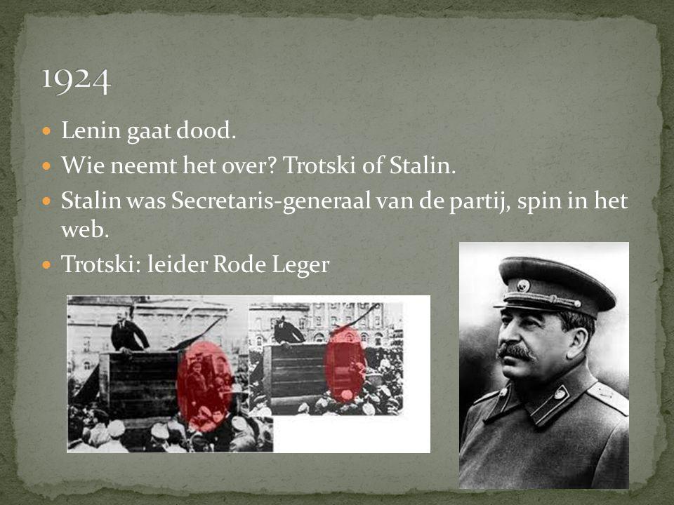 1924 Lenin gaat dood. Wie neemt het over Trotski of Stalin.