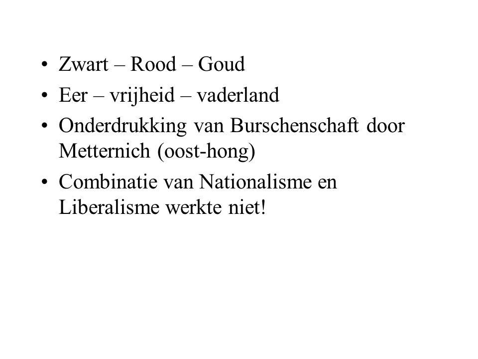 Zwart – Rood – Goud Eer – vrijheid – vaderland. Onderdrukking van Burschenschaft door Metternich (oost-hong)