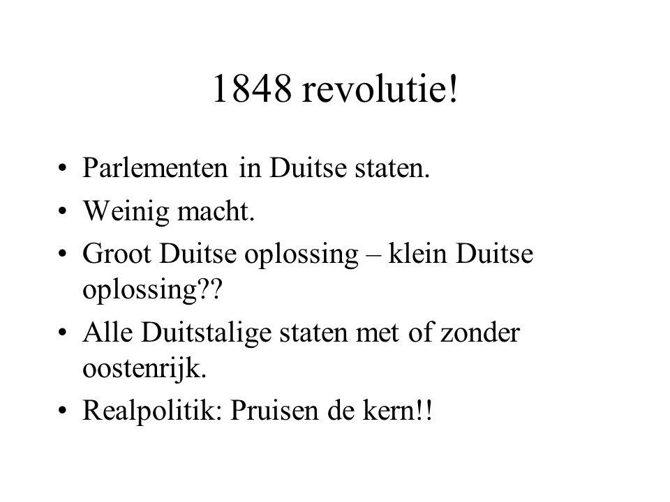 1848 revolutie! Parlementen in Duitse staten. Weinig macht.