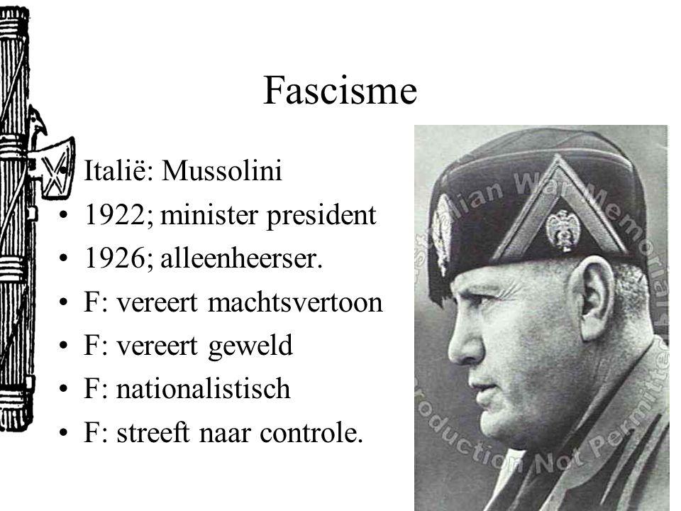 Fascisme Italië: Mussolini 1922; minister president