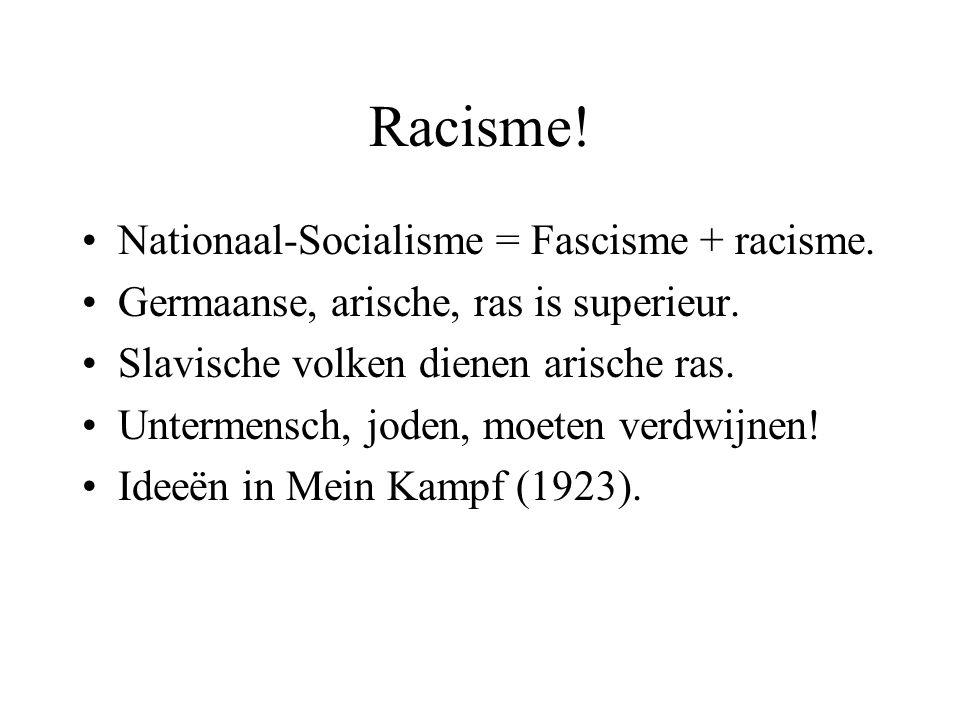 Racisme! Nationaal-Socialisme = Fascisme + racisme.