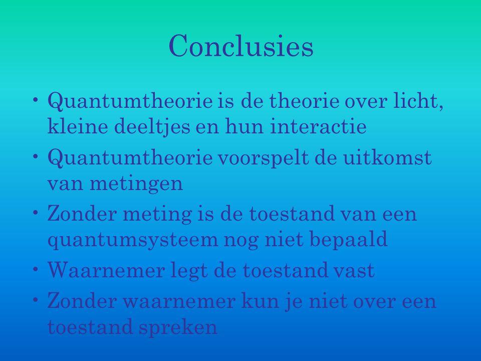 Conclusies Quantumtheorie is de theorie over licht, kleine deeltjes en hun interactie. Quantumtheorie voorspelt de uitkomst van metingen.