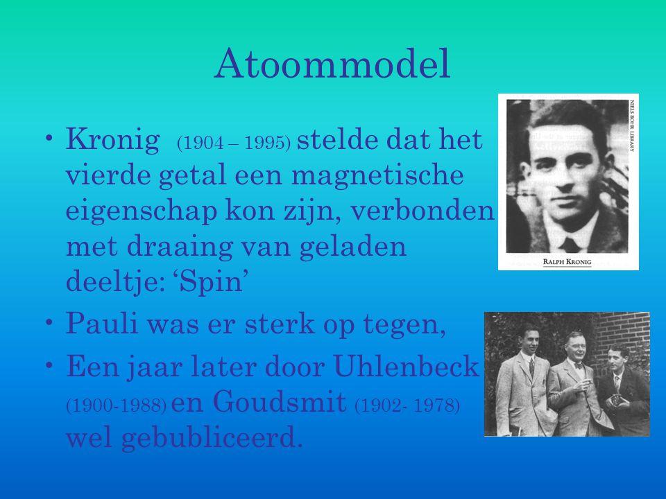 Atoommodel Kronig (1904 – 1995) stelde dat het vierde getal een magnetische eigenschap kon zijn, verbonden met draaing van geladen deeltje: 'Spin'