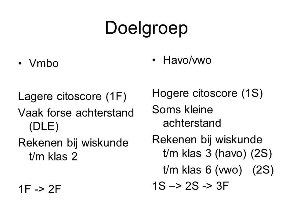 Doelgroep Havo/vwo Vmbo Hogere citoscore (1S) Lagere citoscore (1F)