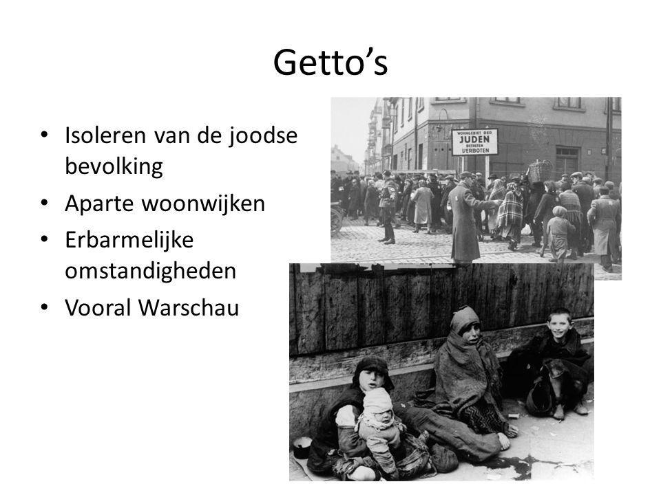 Getto's Isoleren van de joodse bevolking Aparte woonwijken