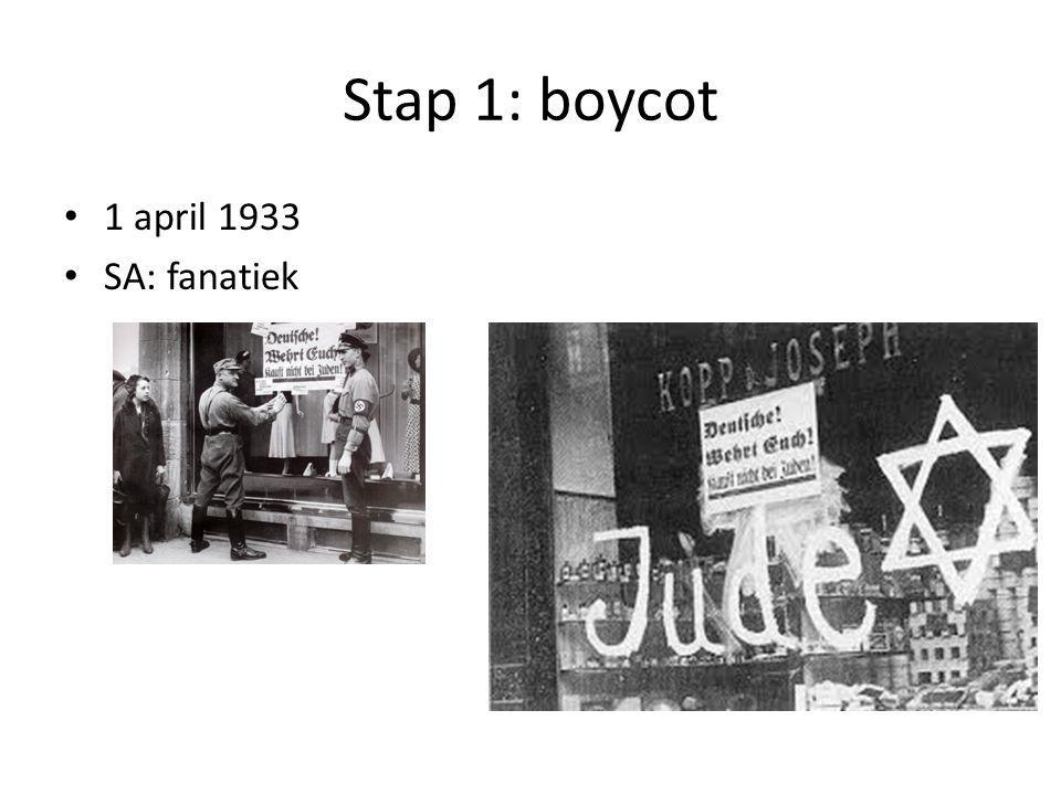 Stap 1: boycot 1 april 1933 SA: fanatiek