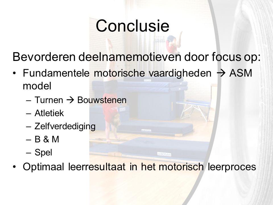 Conclusie Bevorderen deelnamemotieven door focus op: