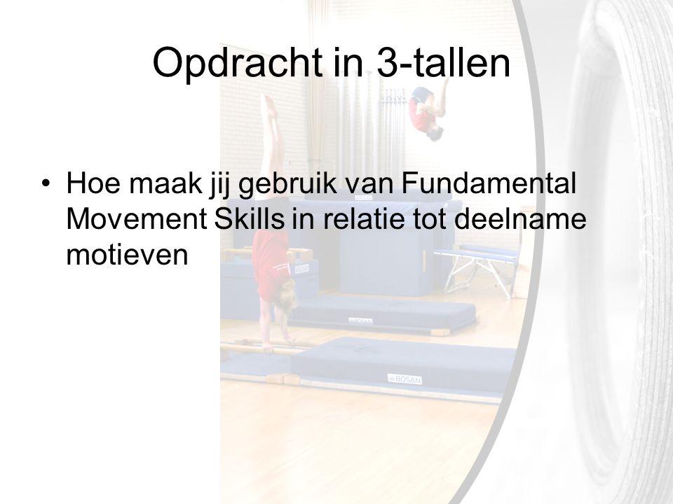 Opdracht in 3-tallen Hoe maak jij gebruik van Fundamental Movement Skills in relatie tot deelname motieven.