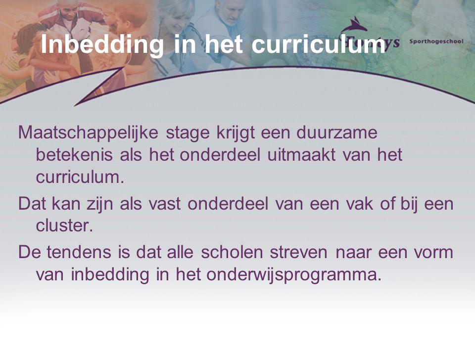 Inbedding in het curriculum