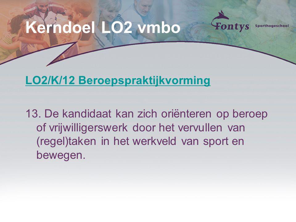 Kerndoel LO2 vmbo LO2/K/12 Beroepspraktijkvorming