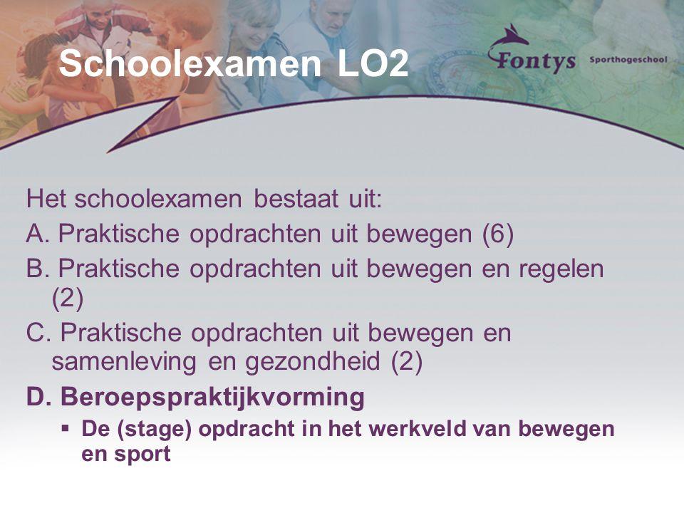 Schoolexamen LO2 Het schoolexamen bestaat uit: