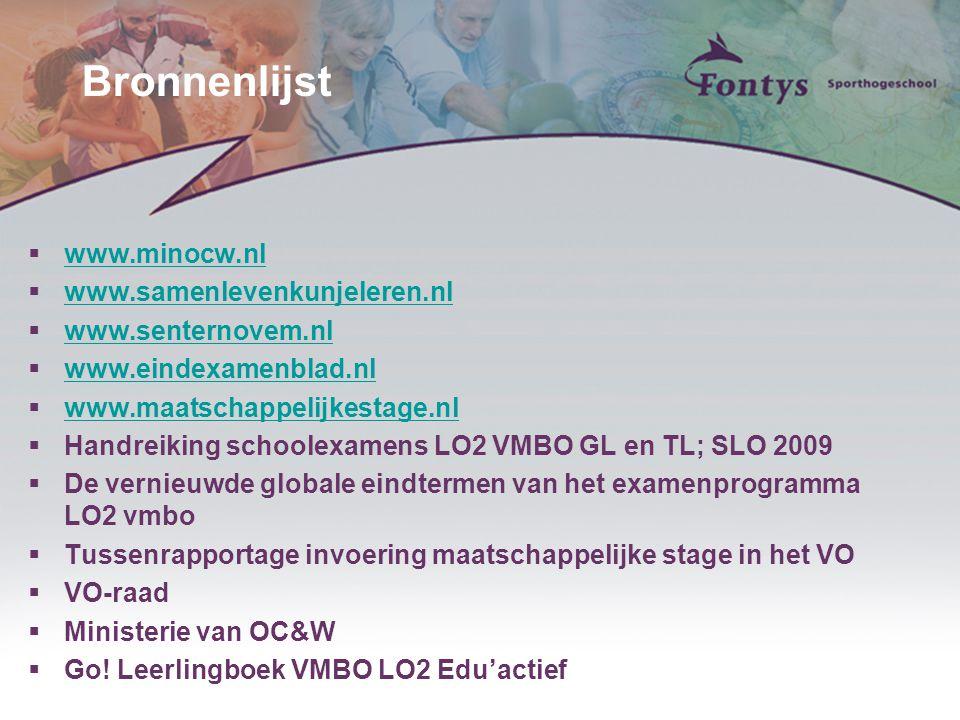 Bronnenlijst www.minocw.nl www.samenlevenkunjeleren.nl