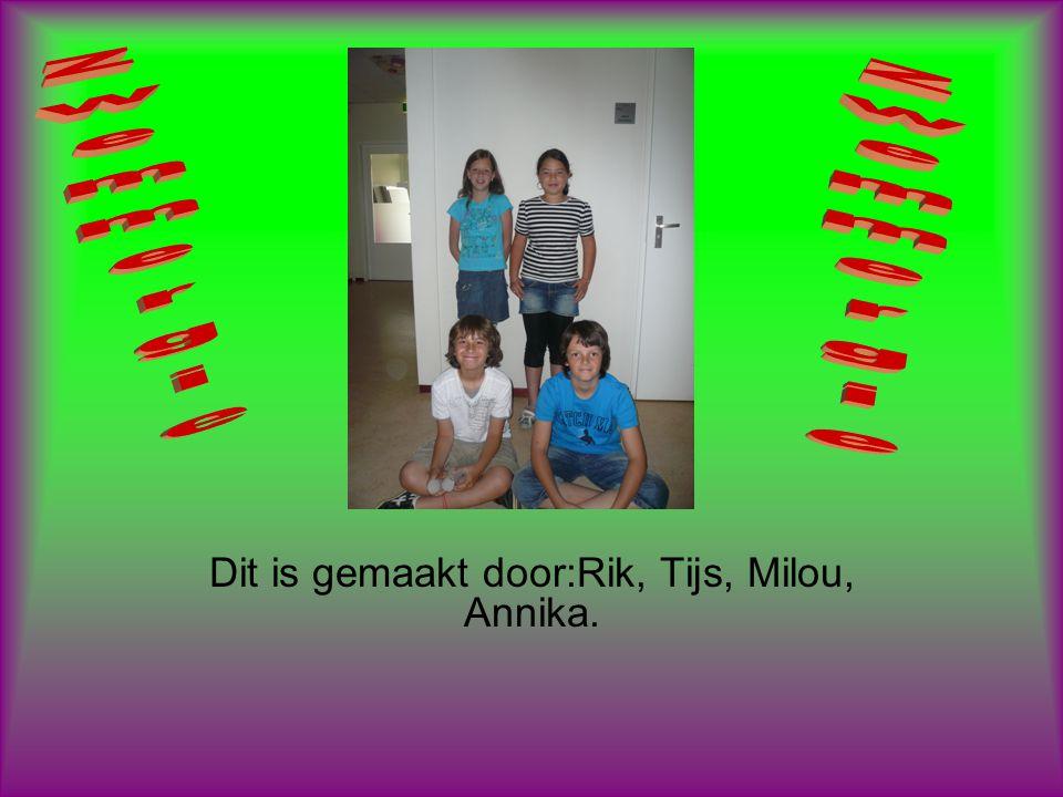 Dit is gemaakt door:Rik, Tijs, Milou, Annika.