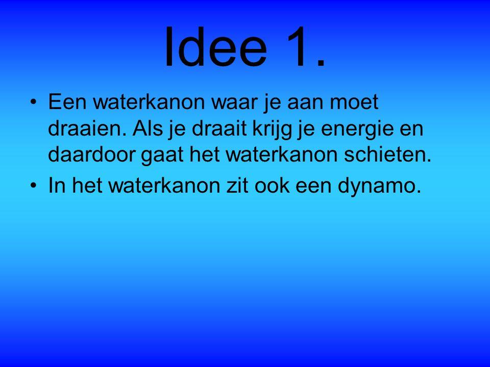 Idee 1. Een waterkanon waar je aan moet draaien. Als je draait krijg je energie en daardoor gaat het waterkanon schieten.