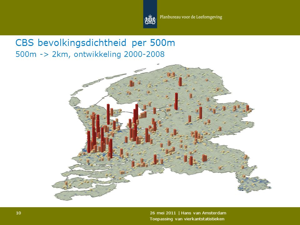 CBS bevolkingsdichtheid per 500m 500m -> 2km, ontwikkeling 2000-2008