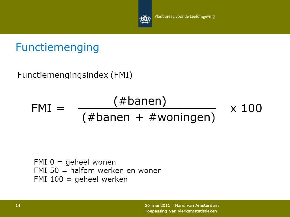 (#banen + #woningen) FMI = x 100 Functiemenging