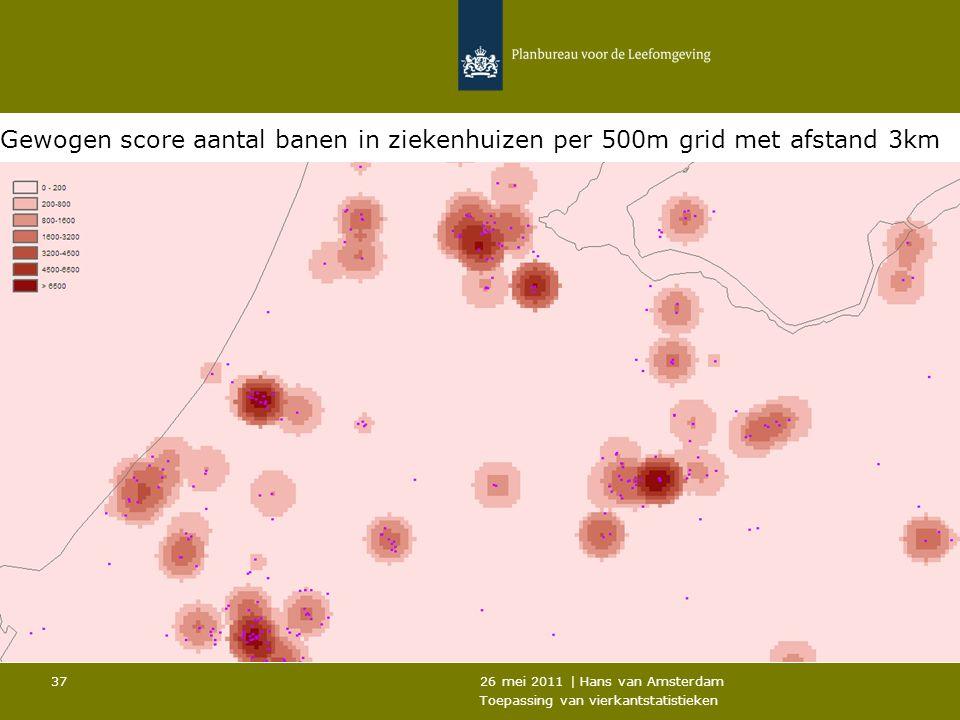 Gewogen score aantal banen in ziekenhuizen per 500m grid met afstand 3km