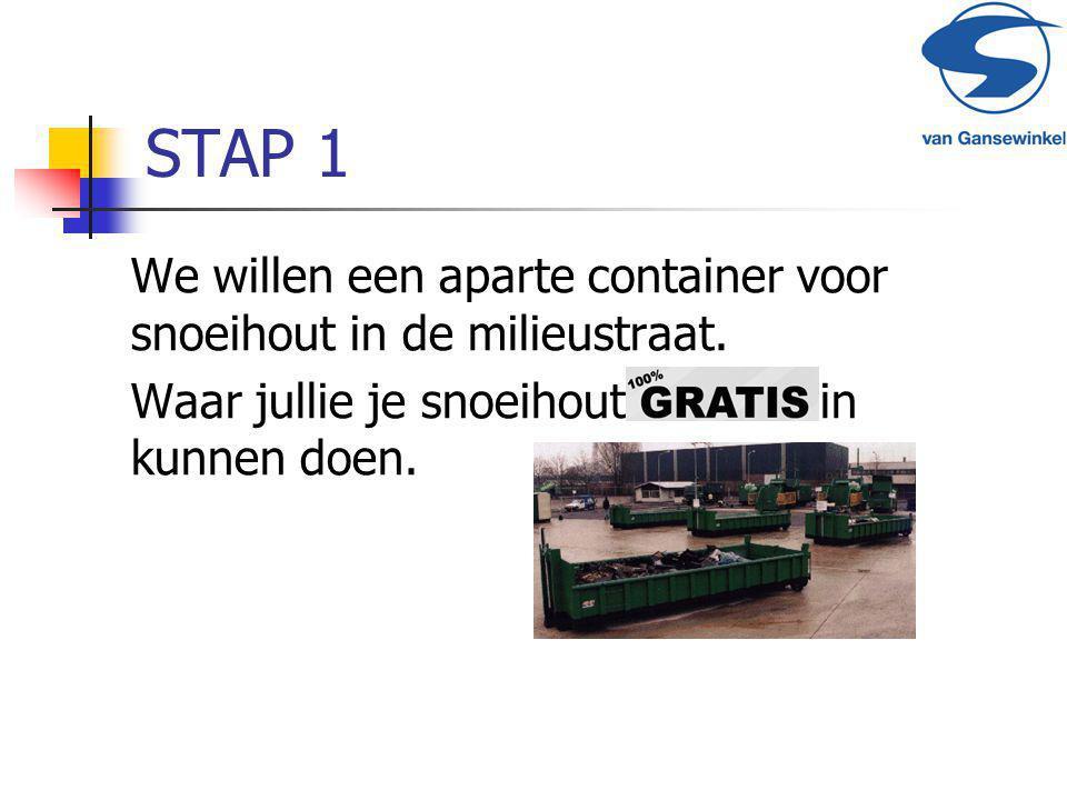 STAP 1 We willen een aparte container voor snoeihout in de milieustraat.