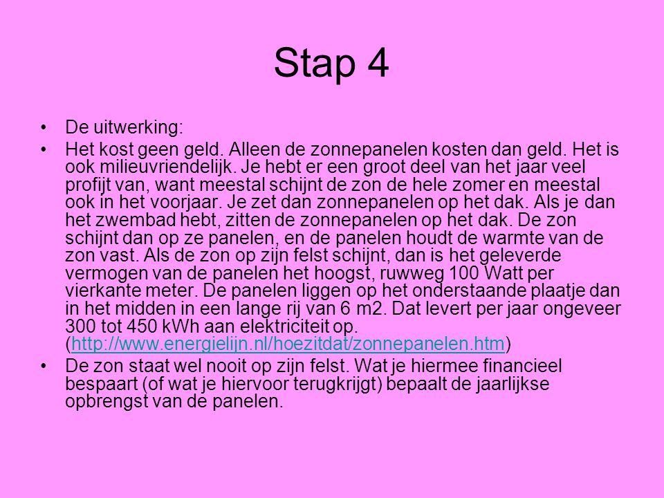 Stap 4 De uitwerking: