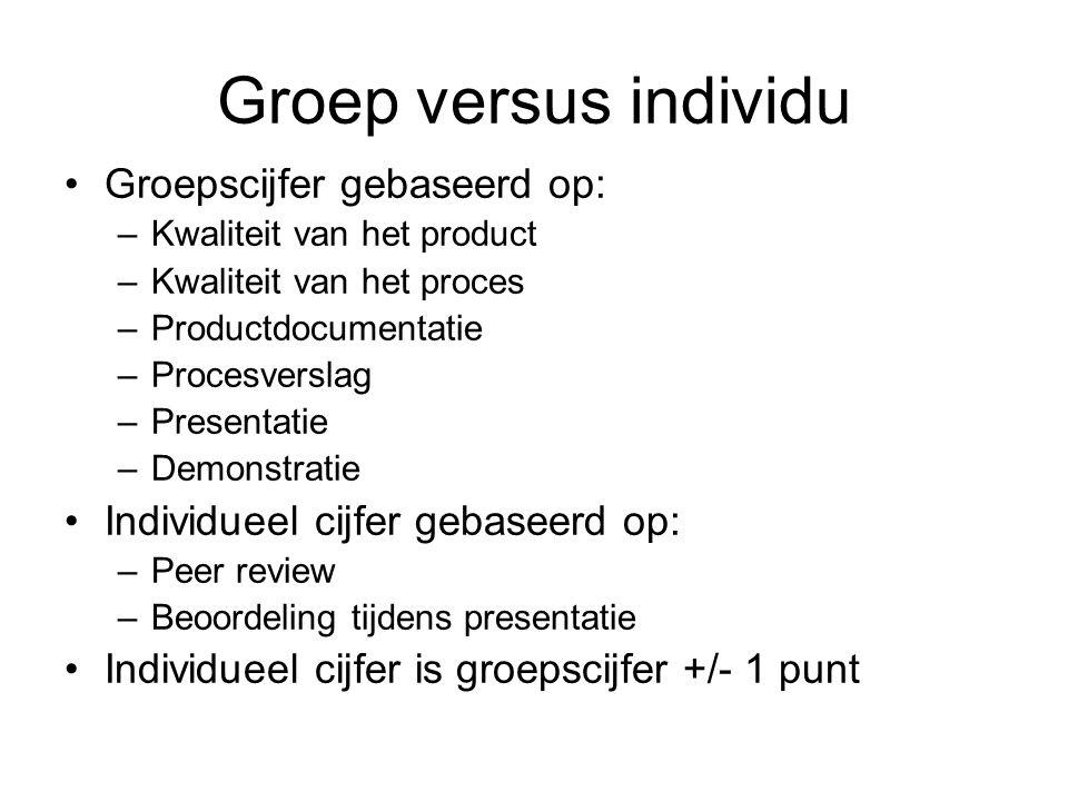 Groep versus individu Groepscijfer gebaseerd op: