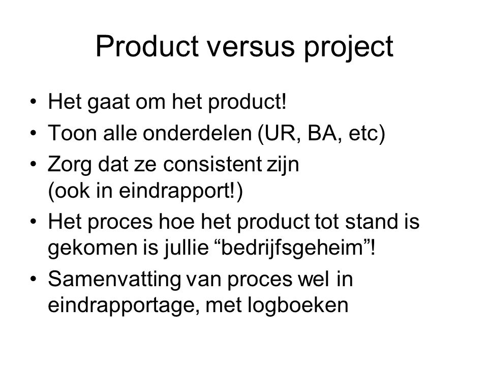 Product versus project