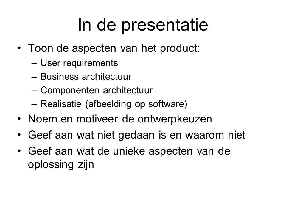 In de presentatie Toon de aspecten van het product: