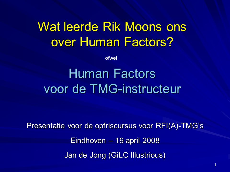 Human Factors voor de TMG-instructeur