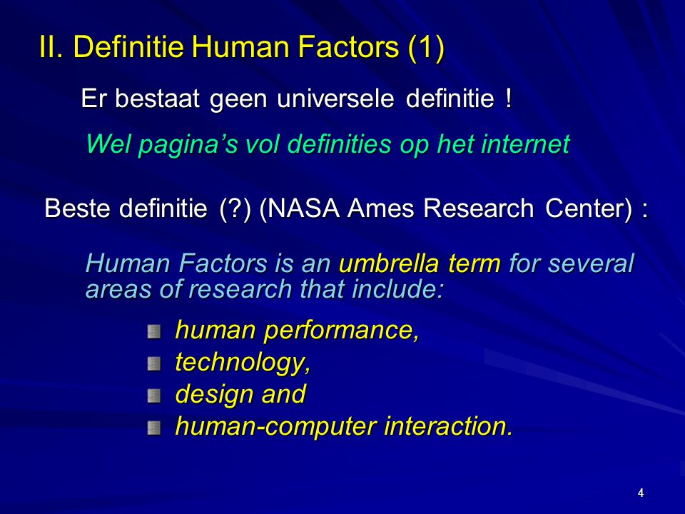 II. Definitie Human Factors (1)