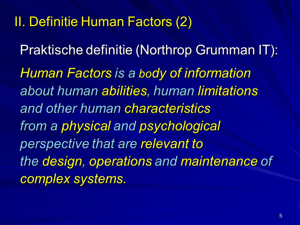 II. Definitie Human Factors (2)