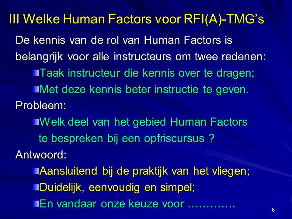 III Welke Human Factors voor RFI(A)-TMG's