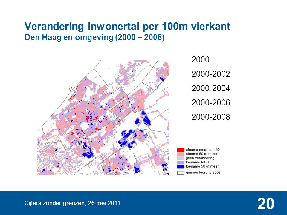 Verandering inwonertal per 100m vierkant Den Haag en omgeving (2000 – 2008)