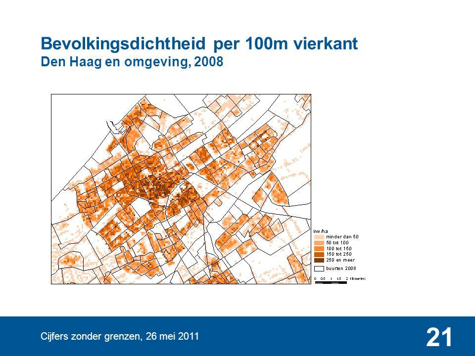 Bevolkingsdichtheid per 100m vierkant Den Haag en omgeving, 2008