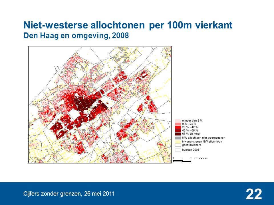 Niet-westerse allochtonen per 100m vierkant Den Haag en omgeving, 2008