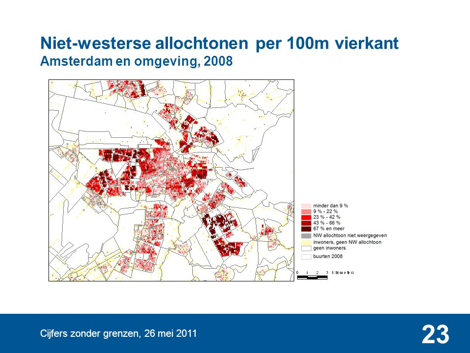 Niet-westerse allochtonen per 100m vierkant Amsterdam en omgeving, 2008
