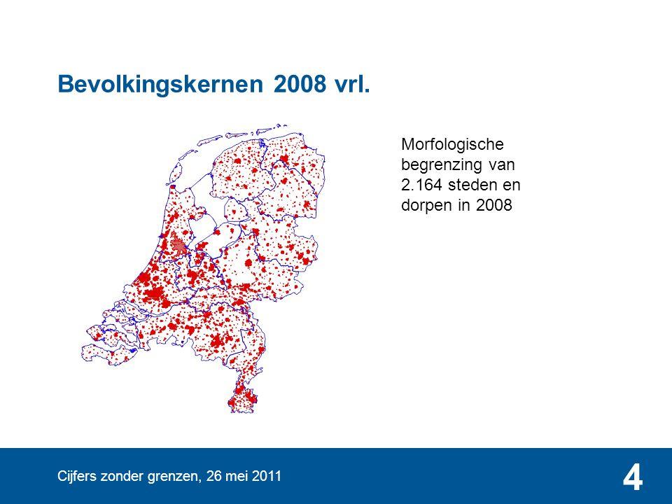 Bevolkingskernen 2008 vrl. Morfologische begrenzing van 2.164 steden en dorpen in 2008.
