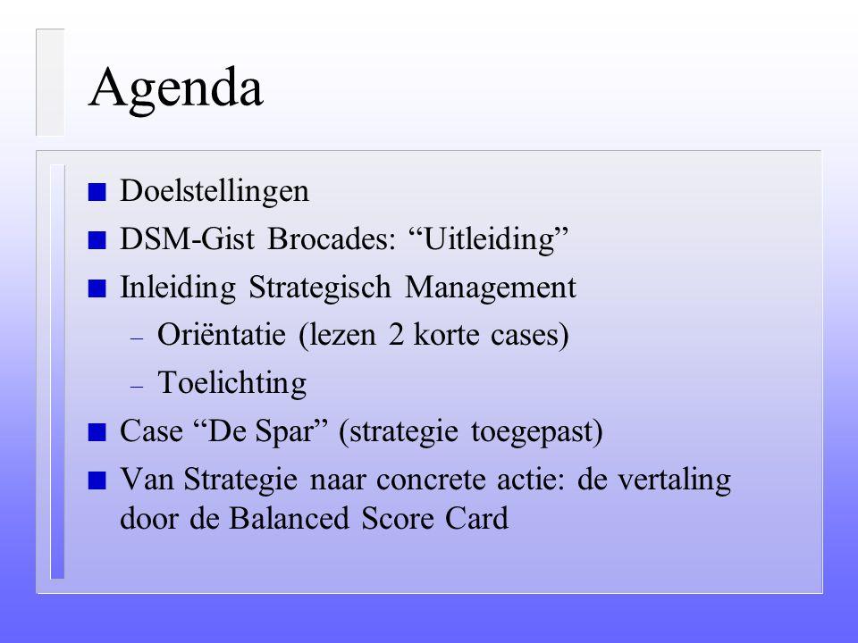 Agenda Doelstellingen DSM-Gist Brocades: Uitleiding