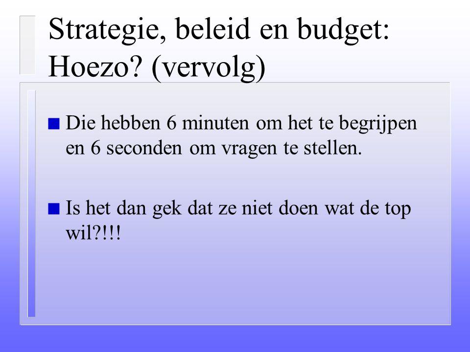 Strategie, beleid en budget: Hoezo (vervolg)