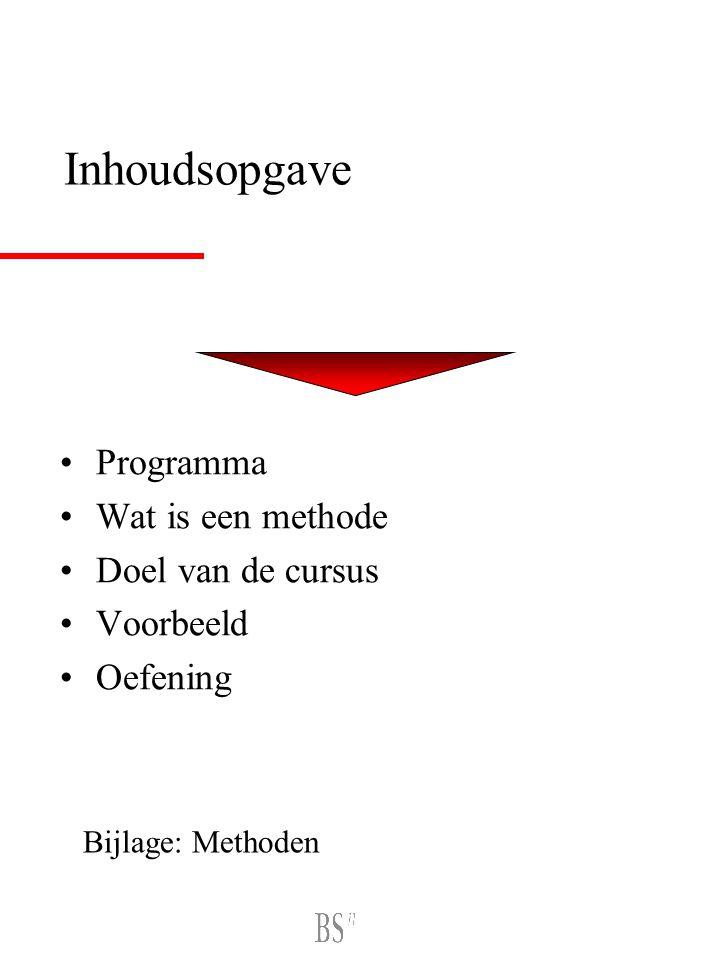 Inhoudsopgave Programma Wat is een methode Doel van de cursus